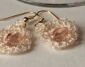 Cream and Pink Crocheted and Beaded Earrings