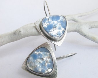 Contemporary Blue Opal Glass Earring, Sterling Silver Earrings, Vintage Japanese Cabochon Earring, Artisan Earrings, Metalsmith Jewelry