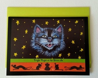 """Halloween frame-able greeting card. 'Fright Night at the Drive In"""""""