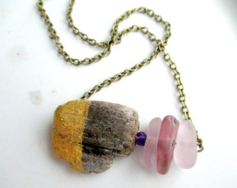 Modern Purple Beach Glass and Driftwood Necklace With an Amethyst Bead