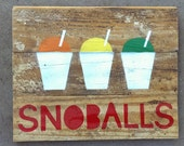 snoball stencil on reclaimed tongue-and-groove floorboards snoballs snowball snowcone snocone New Orleans Louisiana