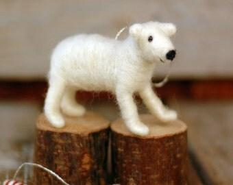 Polar Bear Cub - Needle Felted Christmas Ornament