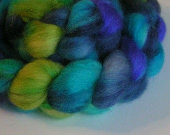Fiber Roving Top BFL Silk SCARAB Top Hand Painted Blue Purple Green Wool Phatfiber October Feature Spin Felt Craft Roving 4 ounces
