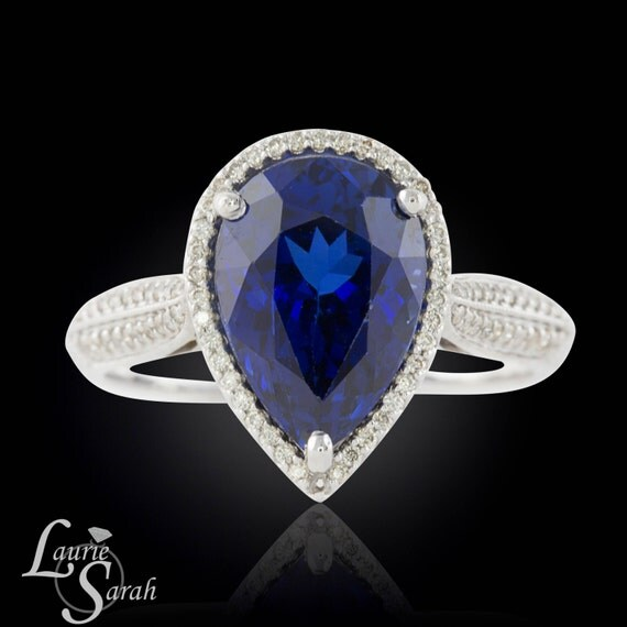 Blue Sapphire Engagement Ring, Pear Shaped Lab Created Blue Sapphire and Diamond Engagement Ring with hidden hearts - LS1814