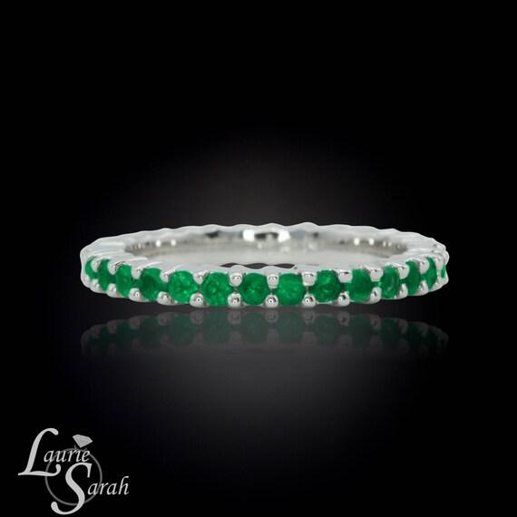 Prong Set Emerald Eternity Band - May Birthstone ring - LS1178