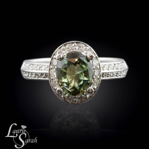 Oval Green Sapphire and Diamond Engagement Ring in 14kt White Gold - LS1805