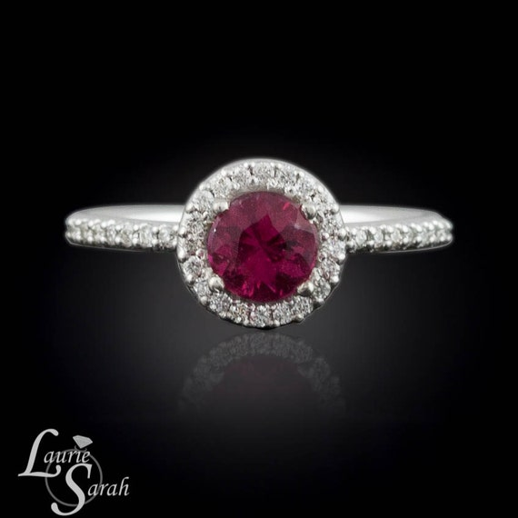 Engagement Ring, Tourmaline and Diamond Ring - Single halo with hidden hearts - LS1064