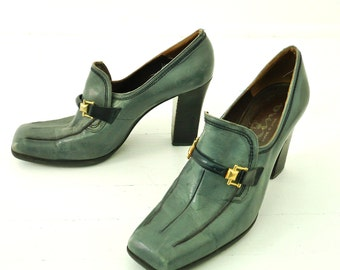 60s Slip On Oxford Heels 8 Steel Blue 8 8.5