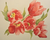 Stained Glass Tulips-Original Watercolor Painting of Red Tulips