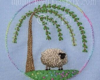 Stumpwork Sheep Embroidery Pattern