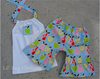 Custom Boutique Spring Summer Apple Pear Short Halter Outfit