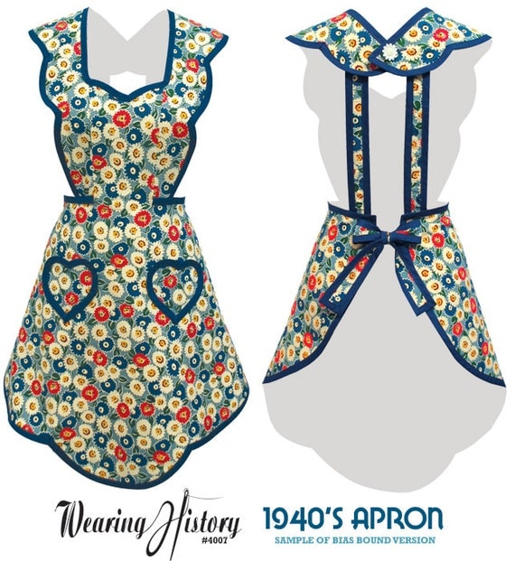 Vintage Aprons, Retro Aprons, Old Fashioned Aprons & Patterns E-Pattern- 1940s Apron- Wearing History PDF Vintage Sewing Pattern $12.00 AT vintagedancer.com