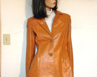Leather Western Jacket Size 4 Altman of Dallas Butterscotch Brown Leather jacket