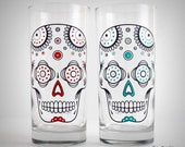 Sugar Skulls - 2 Hand Painted Glasses, Día de Muertos, Day of the Dead Glasses, Halloween Glasses, Everyday Glasses, Halloween Party