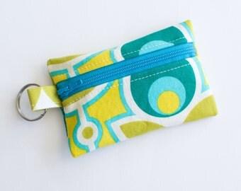 Zippered Pouch, Small Card Case, Ear Bud Case Primrose Aquamarine