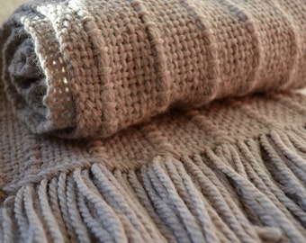 10%  coupon code FATHERSDAY- Handmade scarf - unisex handwoven rustic gray alpaca wool