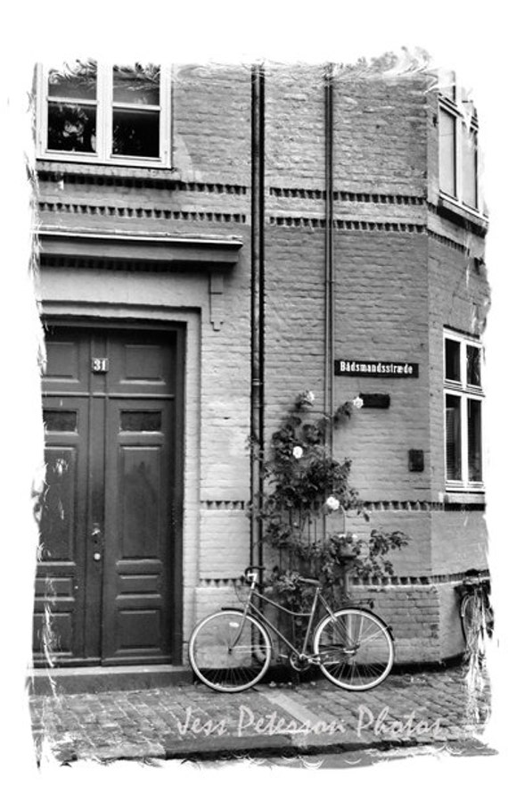 Door Photography Bicycle Photo Copenhagen Denmark Travel Photography Black & White Home Decor. Danish wall art Door print 5x7 Matted To 8x10