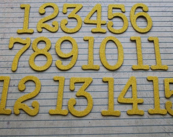 Numbers 1-22 lemon yellow glitter diecuts 1  3/4 inch tall numbers chipboard great for wedding table numbers