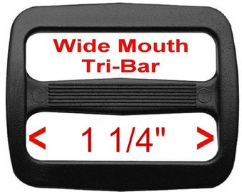 "10 PIECES - 1 1/4"" - Strap Adjuster, 1 1/4 inch, Heavy Duty Polyacetal Plastic, 3 bar slide WIDE MOUTH, 1.25, 32mm, Tri Bar"