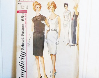 Party Dress Pattern simplicity 5020 1960s Sheath Dress with Overblouse Size 14 Bust 34