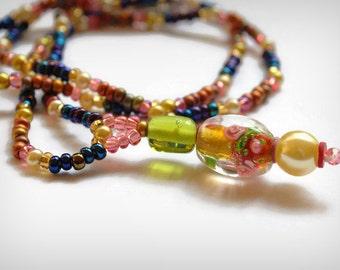 Spring Rain Treasures Pendant Necklace Lampwork Glass Art Careers, Sarahbushka