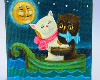 "Miniature Acrylic Painting on 2 1/2"" x 2 1/2"" Canvas With Easel, Mini Art, Story Book Fairy Tale  Owl and the Pussy Cat Child's Room Nursery"