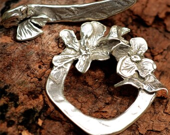 Dogwood and Butterfly Toggle in Sterling Silver, Artisan Flower Clasp