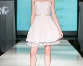 Flirty Petal Pink Short Strapless Dress with Petticoat