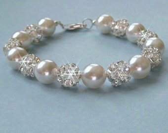 Chunky Pearl Bridal Bracelet - Pearl and Crystal Rhinestone Fire Ball Bridal Bracelet, White or Ivory Pearls - Wedding Jewelry for the Bride