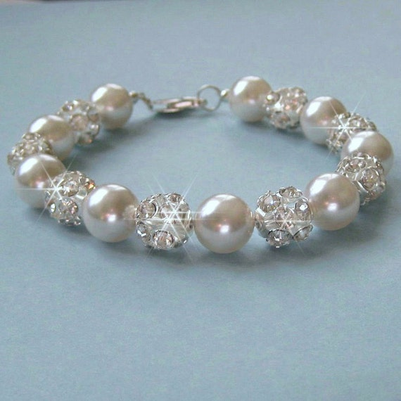 Pearl Bridal Bracelet, Pearl and Crystal Rhinestone Fire Ball Bridal Bracelet, Chunky Pearl Bracelet, Wedding Jewelry for the Bride