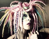 Ombre Party Wig, Cyber Goth Hair, Dreadlock Wig, colorful dread locks, Gothic Lolita Hair, Tribal Belly Dance Hair, Crude Things