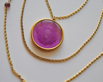 Goldette NY Necklace -Purple Intaglio Cameo Glass Vintage Signed Caged 3 Stands Necklace Crystal 1960's 60's 1960s Gold Bridal Gift Present