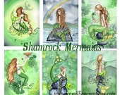 Blank Shamrock MERMAIDS Note Cards from Original Watercolors by Camille Grimshaw