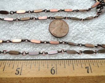10 Feet of Plated Flat Link Chain, Copper/Bronze Tone