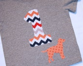 Boys First Birthday Chevron Number 1 Shirt with Dog - 12 month short sleeved heather gray shirt with one in gray orange navy red