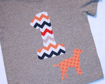 Boys First Birthday Chevron Number 1 Shirt with Dog - 12 month short sleeve heather gray shirt with number 1 in gray orange navy red
