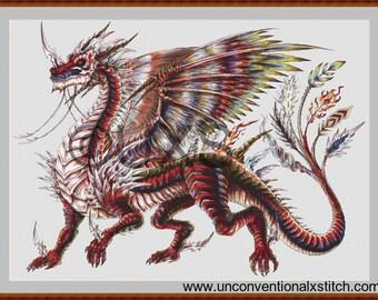 """Dragon cross stitch pattern - Neo dragon modern counted cross stitch pattern - Licensed Artisan - """"Neo dragon"""""""