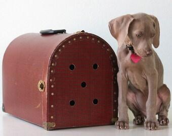 Vintage Houndstooth Pet Carrier, Red and Black Houndstooth
