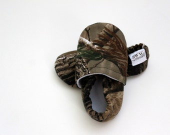 Baby Booties Boy Girl Camouflage Hunting Hunter Woodsy Woodland  Infant Soft Soled Shoes Slippers gift olive green and brown orange SWAG