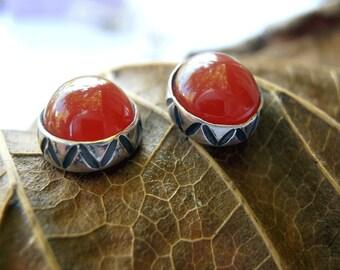 Silver Stud Earrings, Carnelian Post Earrings, Small Orange Earrings, Carnelian Capuchon Earrings, Small Carnelian Studs,July Birthstone