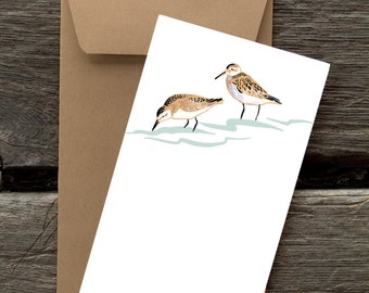 Sandpipers -- 8 Blank flat cards and envelopes