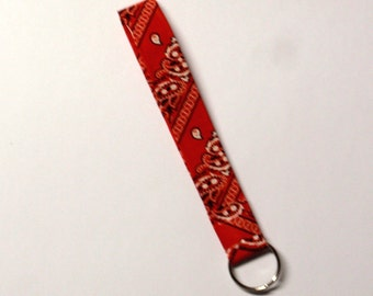 Bandana key fob - duck duct tape red