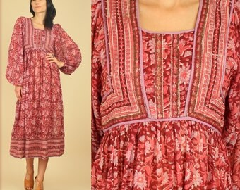 ViNtAgE 70's ZoDiAc Deadstock Indian Gauze Cotton Poet Slv. Gypsy Festival Dress HiPPiE BoHo Large L New Old Stock NOS
