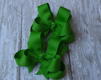 """Girls Hair Bows Apple Green Boutique 3"""" Double Layer Hairbows Set of 2 Pigtail Bows"""