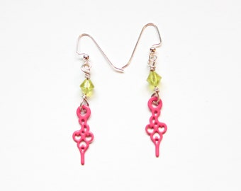 Boho Pink Steampunk Clock Hand Earrings with Lime Green Beads