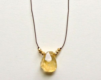 Terra Necklace with Chunky Faceted Citrine Hand Knotted onto Silk Cord