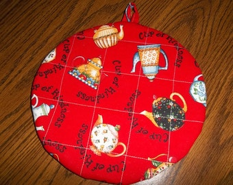 Mary Englebreit Cup of Kindness Quilted Hot Pad or Pot Holder Round Cotton Fabric 9 Inches Double Insulated Trivet