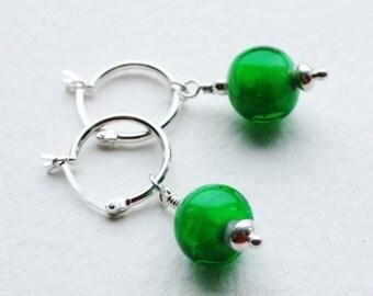 Green Glass Bead Silver Hoop Earrings Planet Venus Space Earrings
