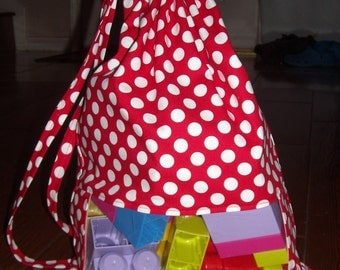 Minnie ta dot (red with white polka dots) peek a boo toy sack
