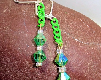 Crystal and Chain Earrings, Green Earrings, Leverback Earrings, Ladies Handmade Jewelry, Dangle Earrings